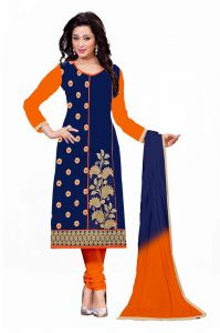 Vinni Tex Blue Cotton Embroidered Dress Material (code - 1032)