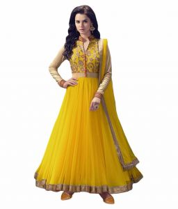 Anarkali Suits (Unstitched) - Vinni tex Yellow Net fabric Semi-stitched Anarkali suit - Angel_yellow