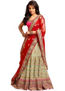 Chaniya, Ghagra Cholis - Isha Enterprise Nylon Net Cream & Red Designer Lehenga Choli Kfa-1537-f