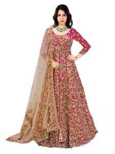Anarkali Suits (Unstitched) - Ethnicbasket Red Semi Stitched Anarkali Salwar Kameez (code - Ebsfsk317009)