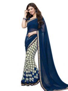 Designer Sarees - Thankar New Attractive Blue And White Designer Saree