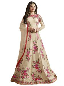 Touch Trends Women's Clothing - Touch Trends Cream Color Raw Silk Anarkali Suits 97002