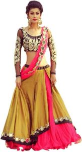 Morpich Fashion New Designer Benglory Silk Embroidery Lehengas Choli(yellow Mirror123)
