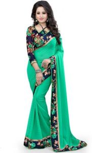Bikaw Georgette Sarees - Ladies Flavour Present Peacoke Blue Saree/lfs105-04