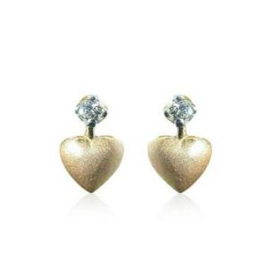 Sheetal Impex 0.10 Cts Real Natural Heart Shape Diamond Earrings In 14 Kt Gold E00132
