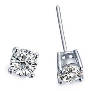 Sheetal Impex 0.50 Cts Solitaire Certified Diamond Earrings In Vs2 Clarity G Colour In Gold E00057