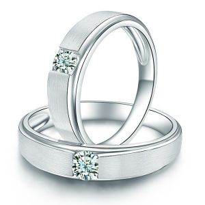 Sheetal Impex 0.30 Cts Real Natural Solitaire Diamond Couple Band In 14 Kt White Gold R00326