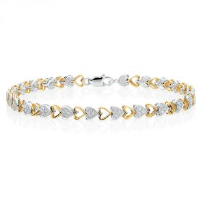 Sheetal Impex Certified 1.50 Ctw Real Natural Round Cut Si2 Clarity Diamonds 14kt Yellow Gold Bracelet - B00008