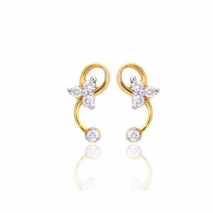 Sheetal Impex Certified 0.16 Ctw Real Natural Diamonds 14kt Yellow Gold Earring - E00087