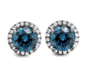 Sheetal Impex Certified 1.50 Tcw Blue Diamonds 14kt White Gold Earring - E00138