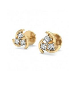 Sheetal Impex Certified 0.18 Ctw Real Natural Round Cut I3 Clarity Diamonds 14kt Gold Earring - E00148