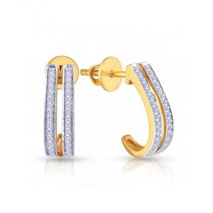 Sheetal Impex Certified Nice Designer Natural Diamonds Yellow Gold Earring