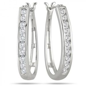 Sheetal Impex Certified Natural Diamonds 14kt White Gold Bali Style Earring