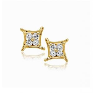 Sheetal Impex Certified Real Natural Diamond Studded 14k Gold Earring