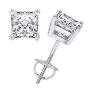 Sheetal Impex Certified Natural Princess Cut Diamonds White Gold Earring