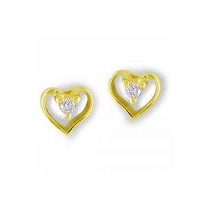 Sheetal Impex Certified Heart Shape Natural Diamonds Silver Yellow Earring