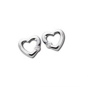 Sheetal Impex Certified Heart Shape Real Natural Diamond Silver Earring