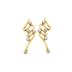 Sheetal Impex Certified Designer Natural Diamonds 14kt Yellow Gold Earring