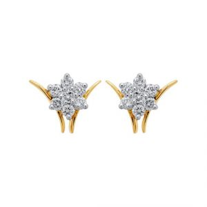 Sheetal Impex Certified Nakshatra Natural Diamonds 10kt Yellow Gold Earring