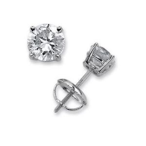Sheetal Impex Certified Solitaire Natural Diamonds 14kt White Gold Earring