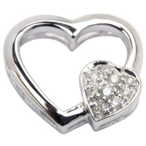 Sheetal Impex Certified 0.10 Tcw Real Natural Diamonds Studded 14kt White Gold Heart Shape Pendant - P00163