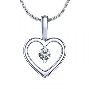 Sheetal Impex Certified Real Diamond Heart Shape Pendant 925 Silver