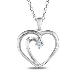 Certified Real Diamond Heart Shape Pendant 925 Silver Gift
