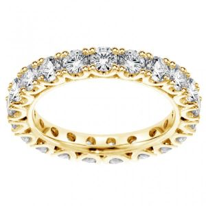 Sheetal Impex Certified 1.10 Tcw Real Natural Diamonds 14kt Yellow Gold Eternity Ring - R00071