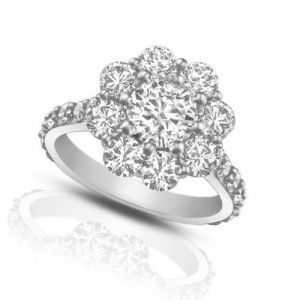 Sheetal Impex Certified 0.85 Ctw Real Natural Round Cut I1 Clarity Diamonds 14kt White Gold Ring - R00205