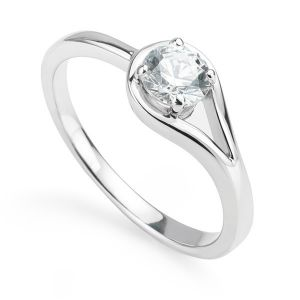 Sheetal Impex Certified 0.50 Cts Real Natural Round Cut I1 Clarity Diamond 14kt White Gold Ring - R00257