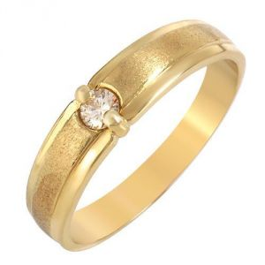 Sheetal Impex Certified 0.15 Cts Real Natural Round Cut Vs2 Clarity Diamond 14kt Yellow Gold Ring - R00273