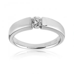 Sheetal Impex Certified 0.30 Cts Real Natural Round Cut Vs2 Clarity Diamond 18kt White Gold Ring - R00280