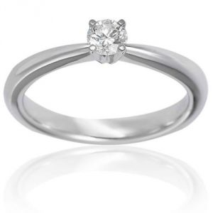 Sheetal Impex Certified 0.25 Carat Real Natural Round Cut White Diamond 14Kt White Gold Ring - R00301