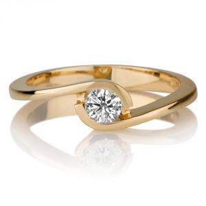 Sheetal Impex Certified 0.25 Cts Real Natural Round Cut Si2 Clarity Diamond 14kt Yellow Gold Ring - R00303