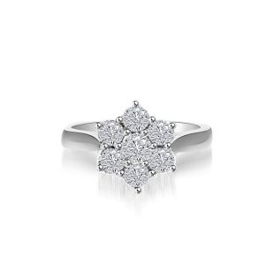 Sheetal Impex Certified 0.50 Ctw Real Natural Round Cut Vs2 Clarity Diamonds 14kt White Gold Ring - R00319