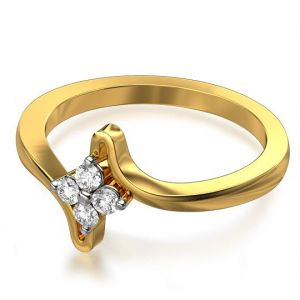 Sheetal Impex Certified 0.20 Ctw Real Natural Round Cut Vs1 Clarity Diamonds 14kt Yellow Gold Ring - R00320