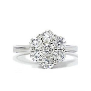 Sheetal Impex Certified 0.15 Ctw Real Natural Round Cut Vs1 Clarity Diamonds 14kt White Gold Ring - R00325