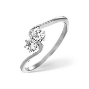 Sheetal Impex Certified 0.20 Ctw Real Natural Round Cut Si2 Clarity Diamonds 14kt White Gold Ring - R00343