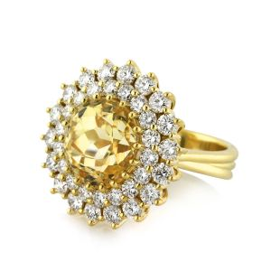 Sheetal Impex Certified 1.08 Tcw Real Natural Round Cut Diamonds 18kt Yellow Gold Ring - R00370