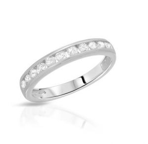 Sheetal Impex Certified 0.55 Tcw Real Natural Round Cut Vs2 Clarity Diamonds 18kt White Gold Ring - R00372