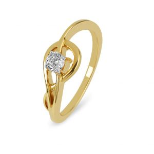 Sheetal Impex Certified 0.30 Cts Real Natural Round Cut VVS1 Clarity 18Kt Yellow Gold Diamond Ring - R00429