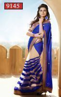 Indian Designer Bollywood Replica Saree Nakashi Blue Sari Bridal Wedding