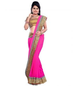 Shopeezo Daily Wear Pink Color Chiffon 60grm Saree/sari