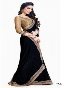 Fashion Kanya Jai Ho Bollywood Black Chiffon Saree