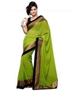 Florence Georgette Sarees - Florence Green Georgette Embroidered Saree With Blouse _fl-sareeka Green Saree