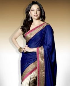 Kia Fashions Bollywood Inspired Tamanna Bhatia Blue Best Quality Stylish Designer Saree