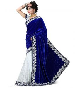 Nilkanth White And Blue Embroidered Lace Border Velvet Saree With Blouse - (product Code - Fnof003-112)