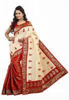 Janasya Women's Clothing - Janasya Art Silk White-red Party Wear Saree
