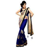 Deemark Traditiona Stylish Saree Indian Festival Special Sari-golden And Bl