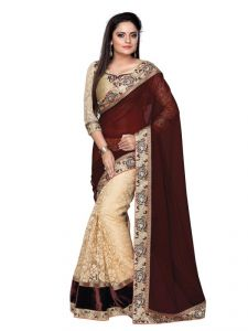 Hoop,Shonaya,Arpera,Tng,Port,Cloe,Asmi,Bikaw Women's Clothing - Tryngets Brown Fancy Designer Georgette Net Saree ( Tng-tm-83 )